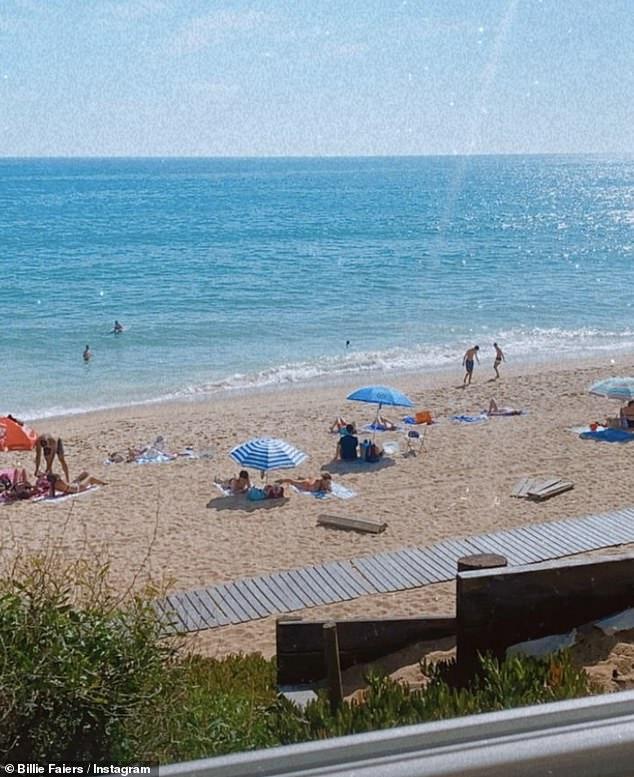 Stunning: Billie showed off the her stunning beach-front view