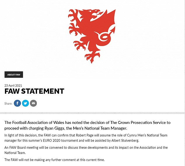 Statement: The Wales manager missed his country's recent Nations League fixtures, following his arrest late last year
