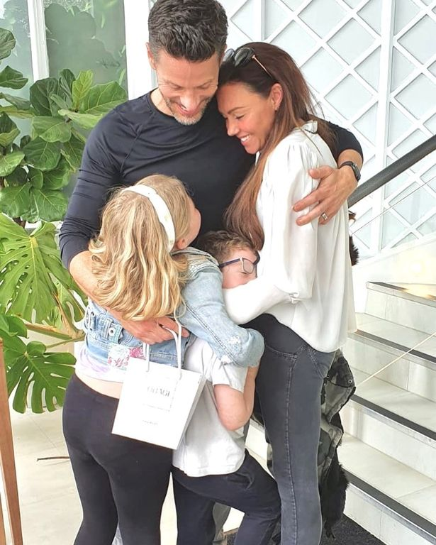 Michelle Heaton was delighted to be able to hug her family as they reunited on the steps of the Priory after her stay