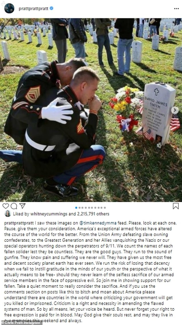 Paused:Chris Pratt of Jurassic World fame had a long and very touching post. 'I saw these images on @timkennedymma feed. Please, look at each one. Pause, give them your consideration,' the husband of Katherine Schwarzenegger began