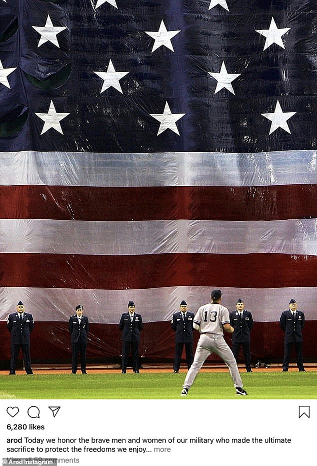 So A-Rod of him:Jennifer Lopez's ex Alex Rodriguez posted an image of himself on the baseball field with the American flag and members of the military in front of him. 'Today we honor the brave men and women of our military who made the ultimate sacrifice to protect the freedoms we enjoy as Americans. We are forever indebted and grateful. #MemorialDay,' said the father of two who used to play with the Yankees