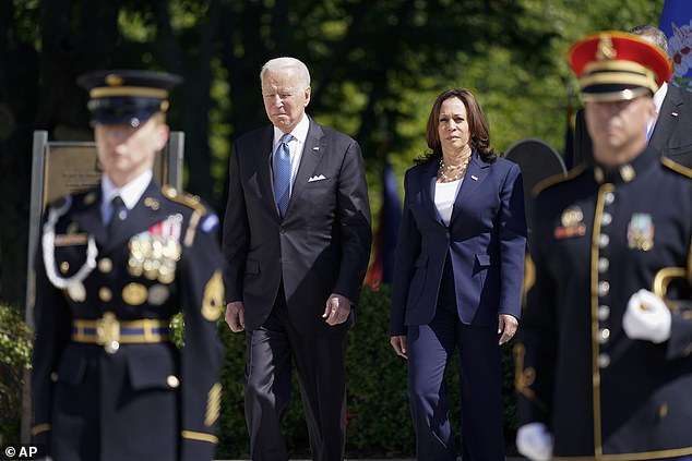 Together: Biden arrives with Vice President Kamala Harris to place a wreath at the Tomb of the Unknown Soldier at Arlington National Cemetery on Memorial Day in Arlington