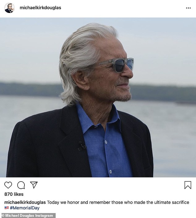 His view: Michael Douglas of Basic Instinct and the Kominsky Method fame shared a profile photo as he said, 'Today we honor and remember those who made the ultimate sacrifice'