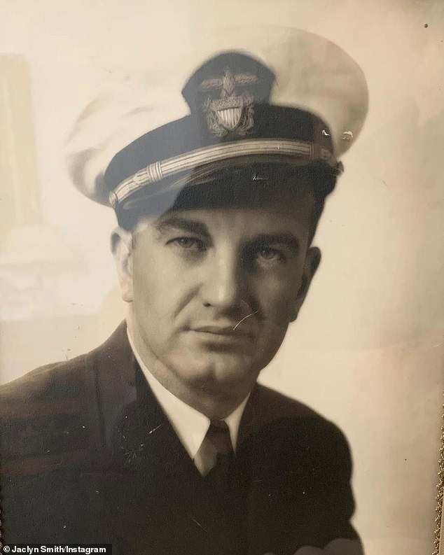 """Dad:'Although my father (pictured here) didn't lose his life in the line of duty, he loved being in the Navy and today, Memorial Day, I'm reminded of a favorite quote of his from John McCrae, """"Take up our quarrel with the foe: To you from failing hands we throw the torch; be yours to hold it high,""""' she added"""