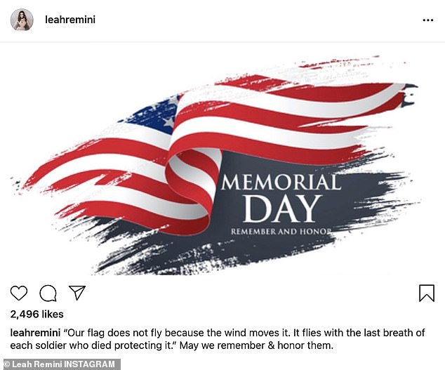 """Touching:Leah Remini of the TV show King Of Queens said: '""""Our flag does not fly because the wind moves it. It flies with the last breath of each soldier who died protecting it."""" May we remember & honor them'"""