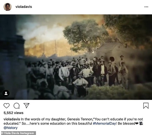 """The past:Viola Davis, 55, of The Help shared a video. 'In the words of my daughter, Genesis Tennon, """"You can't educate if you're not educated."""" So....here's some education on this beautiful #MemorialDay! Be blessed❤ @history'"""