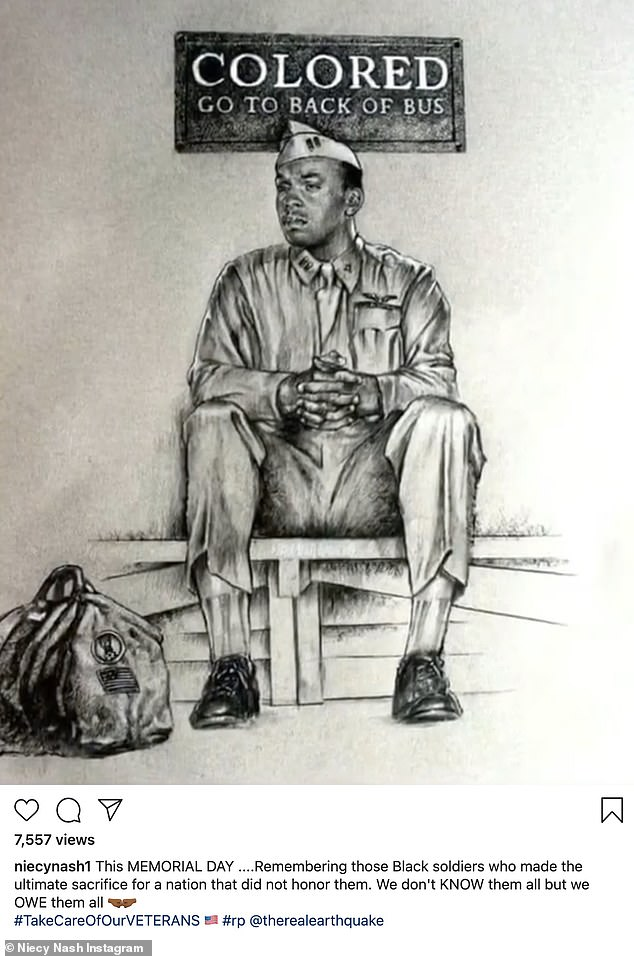 For all:Niecy Nash shared a drawing of a solider: 'This MEMORIAL DAY ....Remembering those Black soldiers who made the ultimate sacrifice for a nation that did not honor them. We don't KNOW them all but we OWE them all'