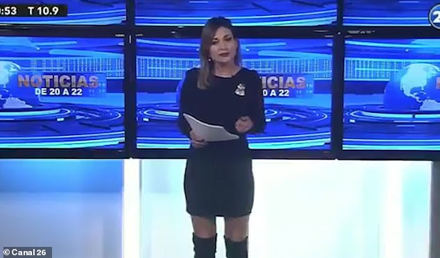 Viewers were left baffled when Noelia Novillo (pictured), a newsreader on Canal 26, reported that iconic playwright William Shakespeare had died this month