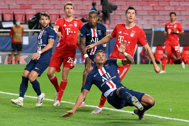 Robert Lewandowski (right) in action against PSG during last year's Champions League final