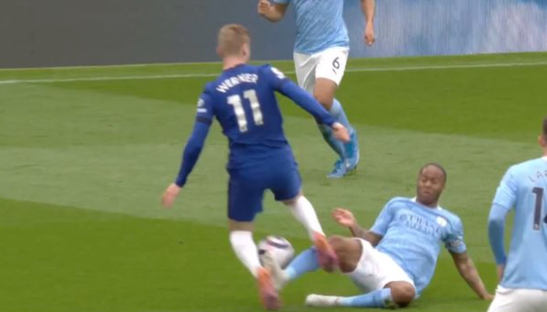 Sterling lunged in on Werner with his studs connecting at the base of the German's leg