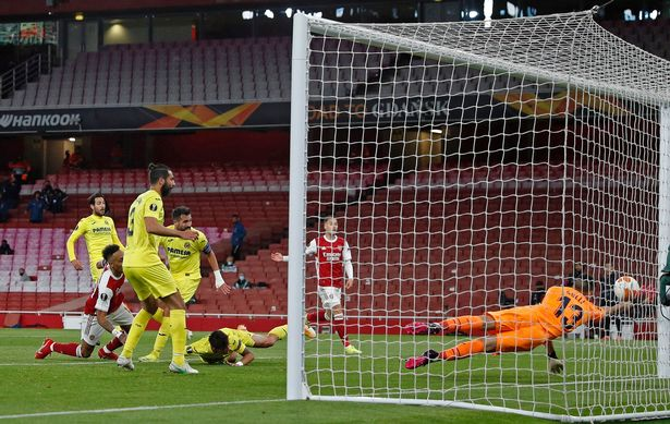 Aubameyang hit the post twice for the Gunners