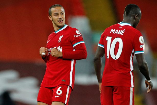 Thiago and Mane were on target for the Reds against the Saints