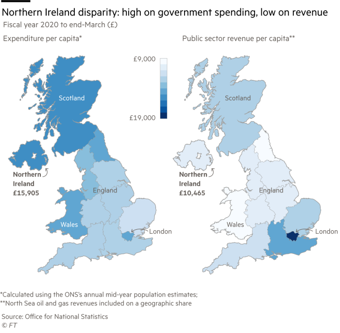 Chloropleth maps showing the disparity between government spending and revenue in Northern Ireland