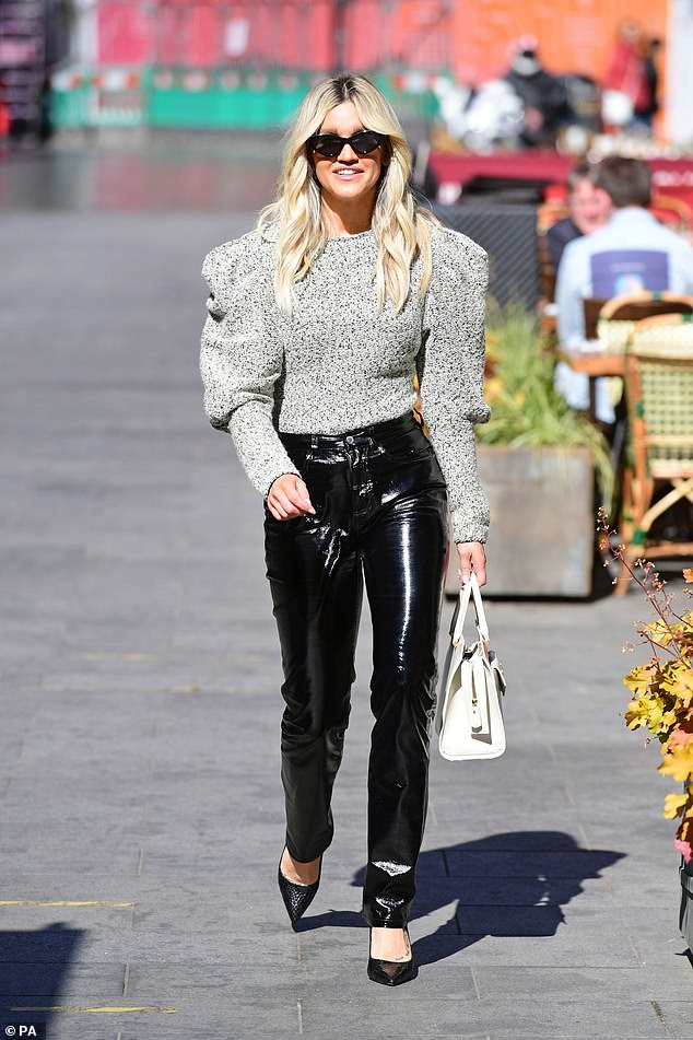 Chic: Ashley Roberts looked chic as ever when she left work at Heart FM studios in skintight leather-look trousers and pointy black stilettos on Friday