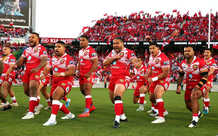 Tonga perform the haka before facing Australia in 2019.
