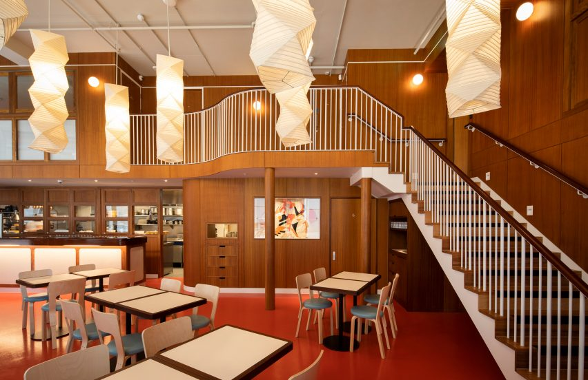 Interior of Cafe Bao with wood-panelled mezzanine