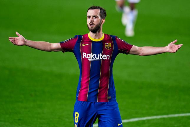 Chelsea transfer target Miralem Pjanic looks on during Barcelona's La Liga clash with Elche