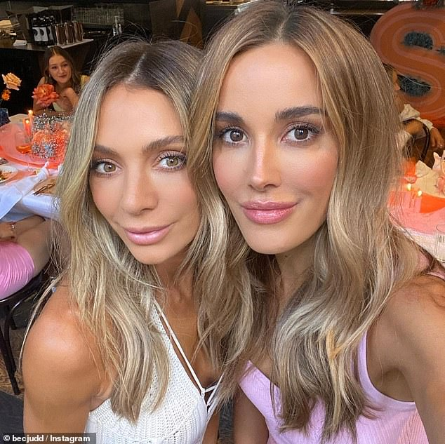 Birthday celebrations: Footy WAG Rebecca Judd (right) shared a sweet tribute to her 'favourite' friend Nadia Bartel (left) as she celebrated her 36th birthday on Monday