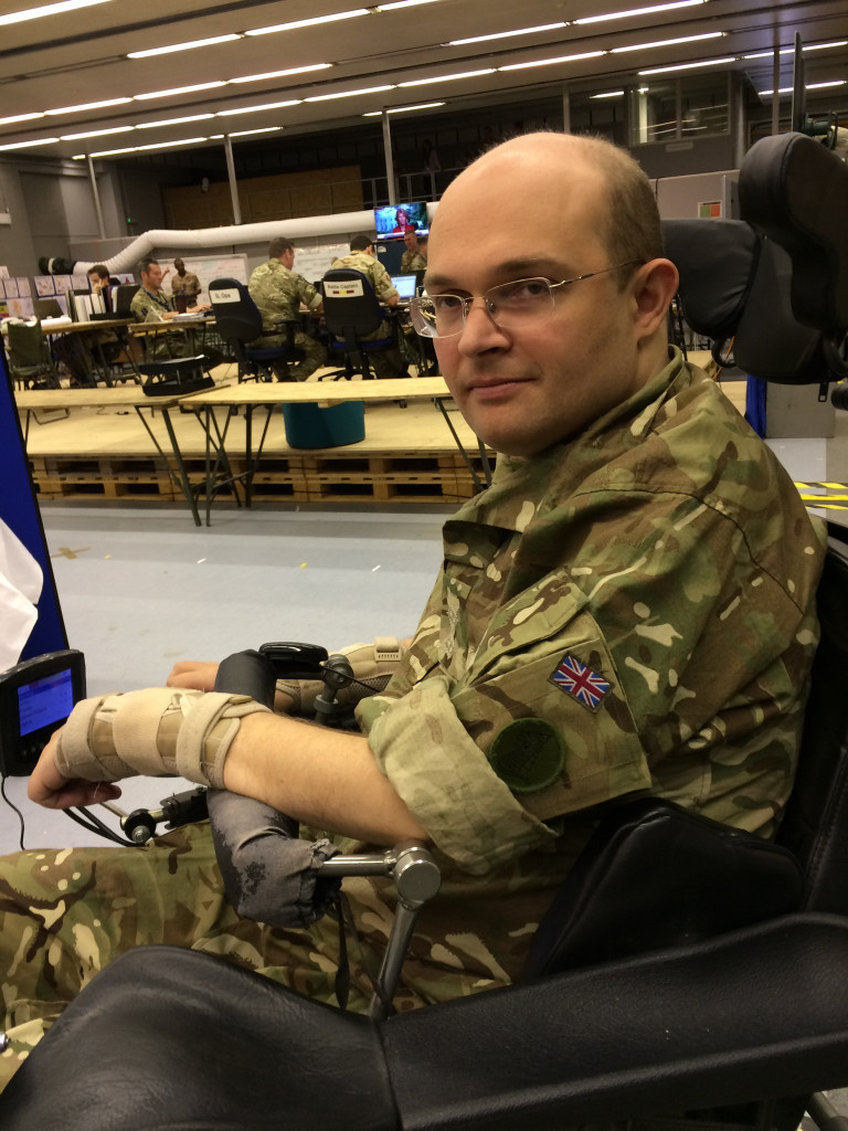 Peter Apps pictured in his wheelchair wearing his army uniform