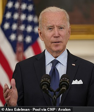 On Tuesday, President Joe Biden (pictured) called on all pharmacies that have partnered with the federal government to begin administering COVID-19 vaccines without appointments