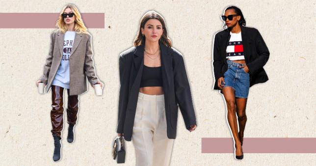 hayley bieber and street style stars wearing oversized blazers