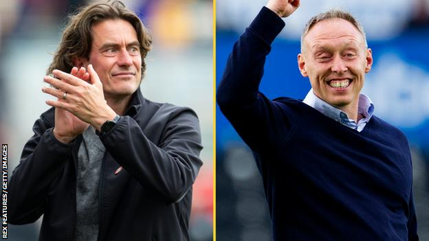Brentford head coach Thomas Frank and Swansea boss Steve Cooper
