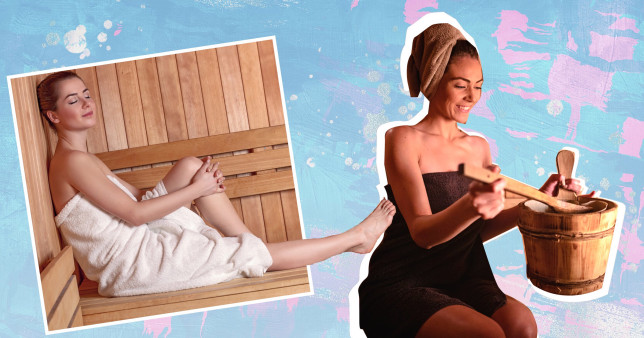 two women in a sauna on a colourful background