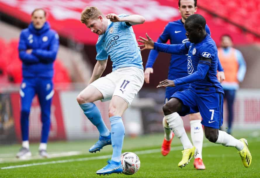 Kevin De Bruyne is stifled by N'Golo Kanté in the FA Cup semi-final. Can Manchester City find a way to liberate the Belgian?