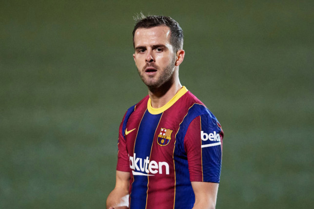 Miralem Pjanic of FC Barcelona looks on during the Copa del Rey round of 32 match between UE Cornella and FC Barcelona at Nou Municipal de Cornella de Llobregat stadium on January 21, 2021 in Barcelona, Spain. Sporting stadiums around Spain remain under strict restrictions due to the Coronavirus Pandemic as Government social distancing laws prohibit fans inside venues resulting in games being played behind closed doors.