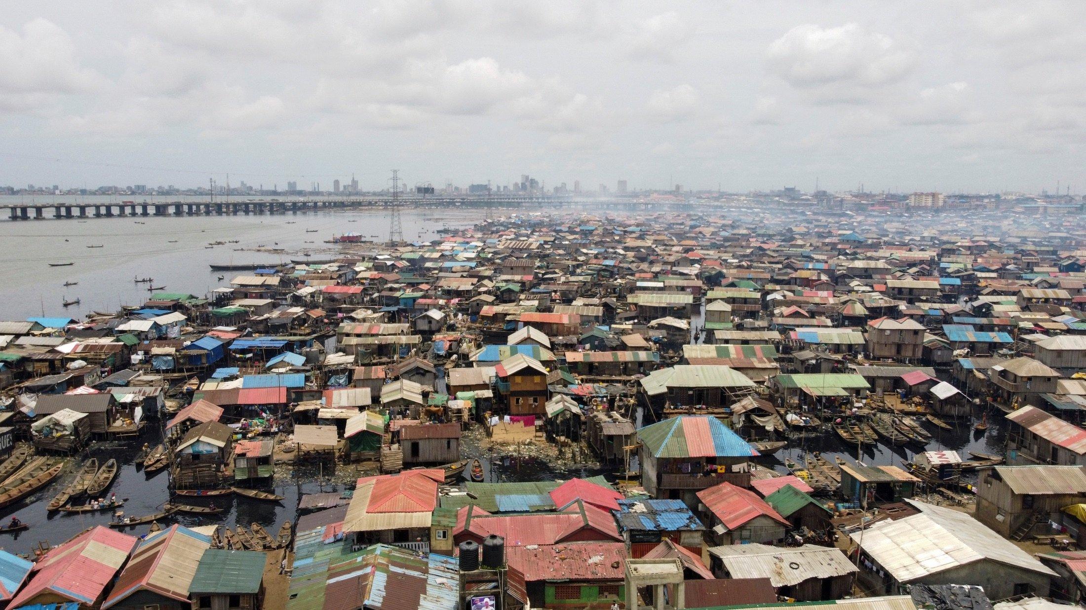 An aerial view of Makoko community in Lagos, Nigeria, May 2, 2021. (Reuters Photo)