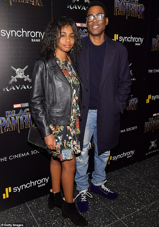 Family matters:Chris Rock revealed his younger daughter Zahra, 16, persuaded him to be in the Old Town Road music video; Chris and Nahla are pictured in 2018