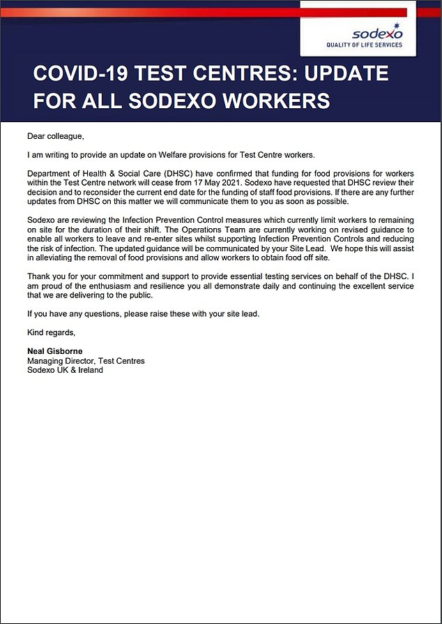 Sodexo circulated this letter to its staff at Covid testing sites. Sources say the plan is to stop funding food and drink supplies for the more than 500 Covid testing sites in the country