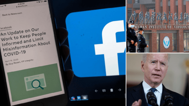 An image of Facebook and its Covid-19 posting policy (left). An image of the Wuhan Institute of Virology (top right). An image of President Joe Biden (bottom right).