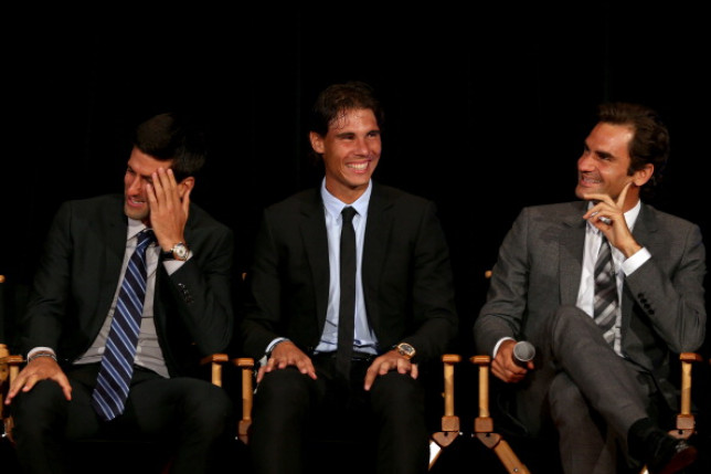 Novak Djokovic of Serbia; Rafael Nadal of Spain and Roger Federer of Switzerland on stage during the ATP Heritage Celebration at The Waldorf=Astoria on August 23, 2013 in New York City.