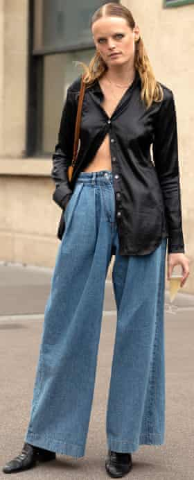 Woman in wide jeans