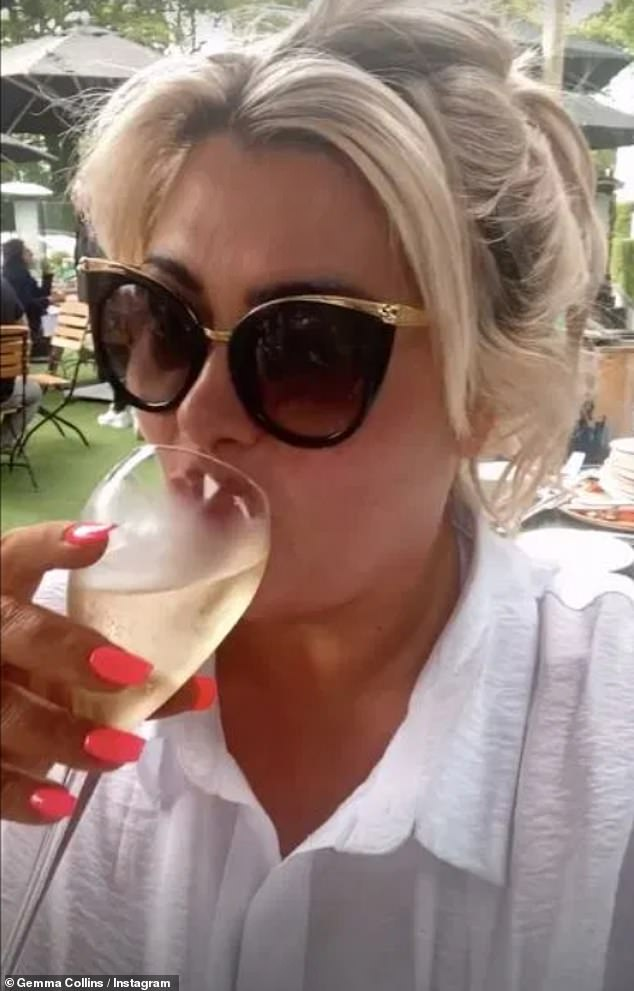 Cheers:Gemma Collins was back in fighting form as she sipped on a glass of champagne after recently battling a mystery illness