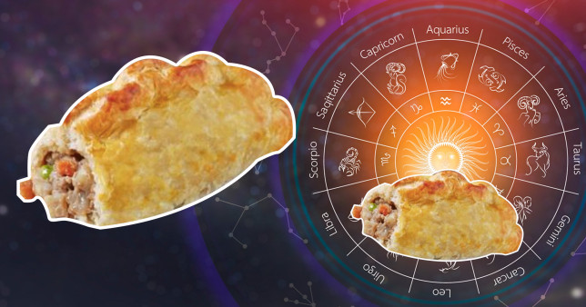A pastry from Greggs on a background of a star signs map.