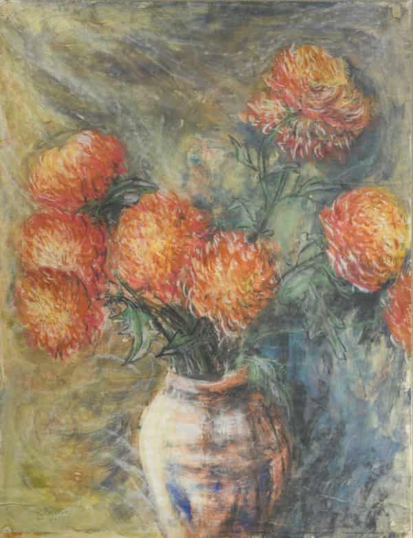 Orange Dahlias in a Vase, 1961, signed R.Barrett.