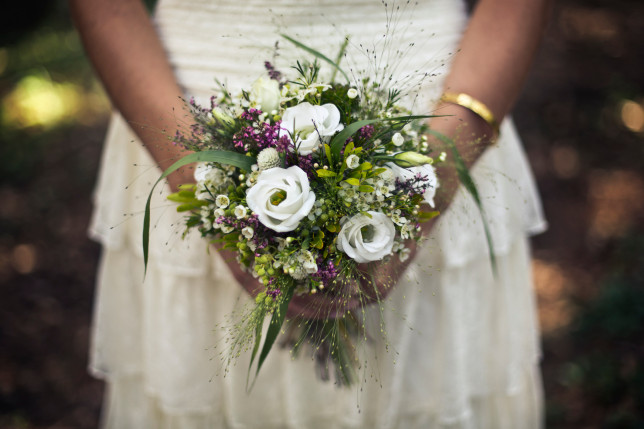 Bride holding wedding bouque