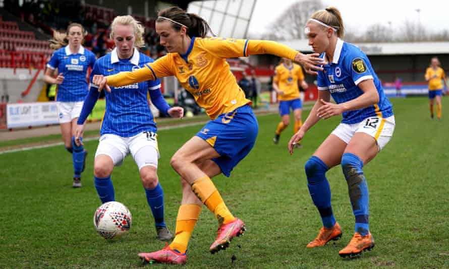 Jill Scott, in action for Everton at Brighton in March, is one of five players in the Team GB squad who played at London 2012.