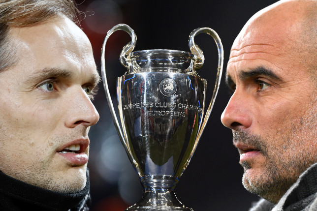 Thomas Tuchel and Pep Guardiola look on ahead of Chelsea's Champions League final clash with Manchester City