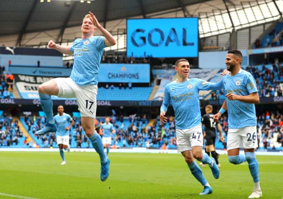 Kevin De Bruyne celebrates after scoring for Manchester City against Everton last Sunday.