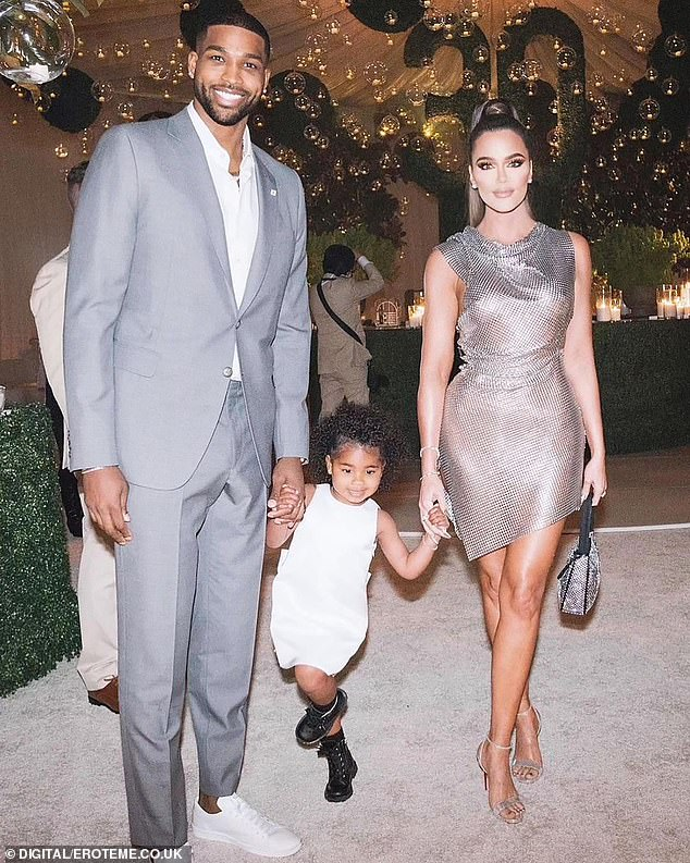 Escalation: Khloé Kardashian, 36, allegedly sent a direct message to the woman claiming that she fathered a son with her partner Tristan Thomspon, 30, based on a screenshot shared Monday; seen with Thompson and their daughter True Thompson in April