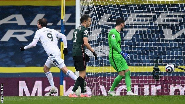Patrick Bamford scores for Leeds United against Tottenham in the Premier League