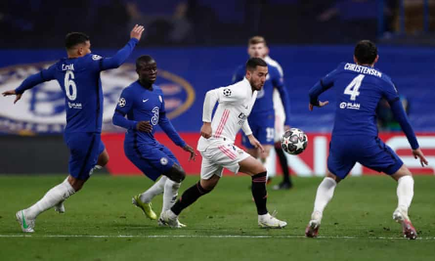 Eden Hazard (centre) has struggled since his big-money move to Real Madrid, and the club have been unable to spend such sums since 2019.