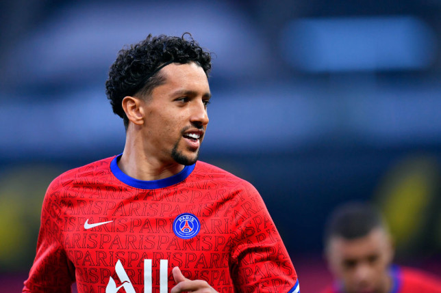Marquinhos looks on ahead of PSG's Champions League clash with Manchester City