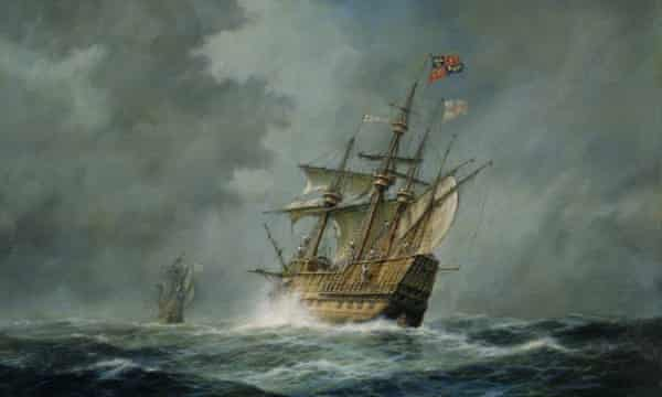 A oil painting of the Mary Rose. The ship sank in 1545.