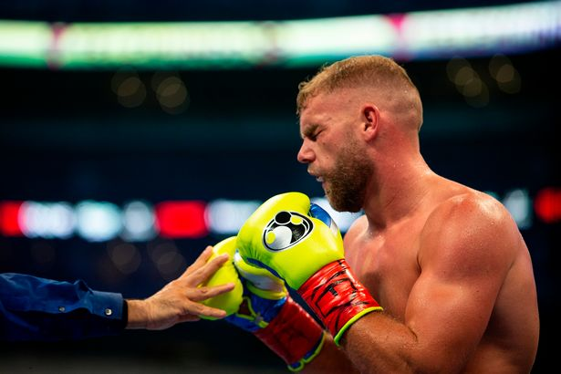 Billy Joe Saunders was pulled out after the eighth round with a broken orbital socket