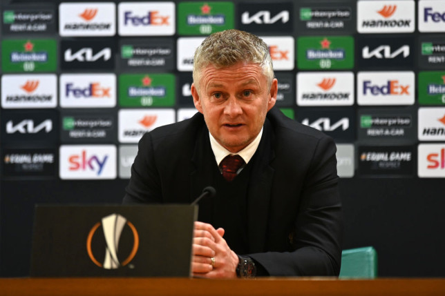 Ole Gunnar Solskjaer, Manager of Manchester United speaks to the media following the UEFA Europa League Semi-final Second Leg match between AS Roma and Manchester United at Stadio Olimpico on May 06, 2021 in Rome, Italy. Sporting stadiums around Europe remain under strict restrictions due to the Coronavirus Pandemic as Government social distancing laws prohibit fans inside venues resulting in games being played behind closed doors.