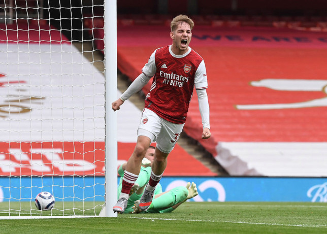 Emile Smith Rowe celebrates scoring for Arsenal during the Premier League match between Arsenal and West Bromwich Albion at Emirates Stadium on May 09, 2021 in London, England. Sporting stadiums around the UK remain under strict restrictions due to the Coronavirus Pandemic as Government social distancing laws prohibit fans inside venues resulting in games being played behind closed doors.